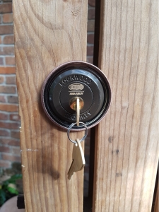 lock on wooden door